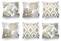 Modern Homes Brown 100% Cotton Decorative Floral Throw Pillow Covers/Cushion Covers 40x40 cm for Sofa, Bed; Set of 6 (Coffee, 16x16)