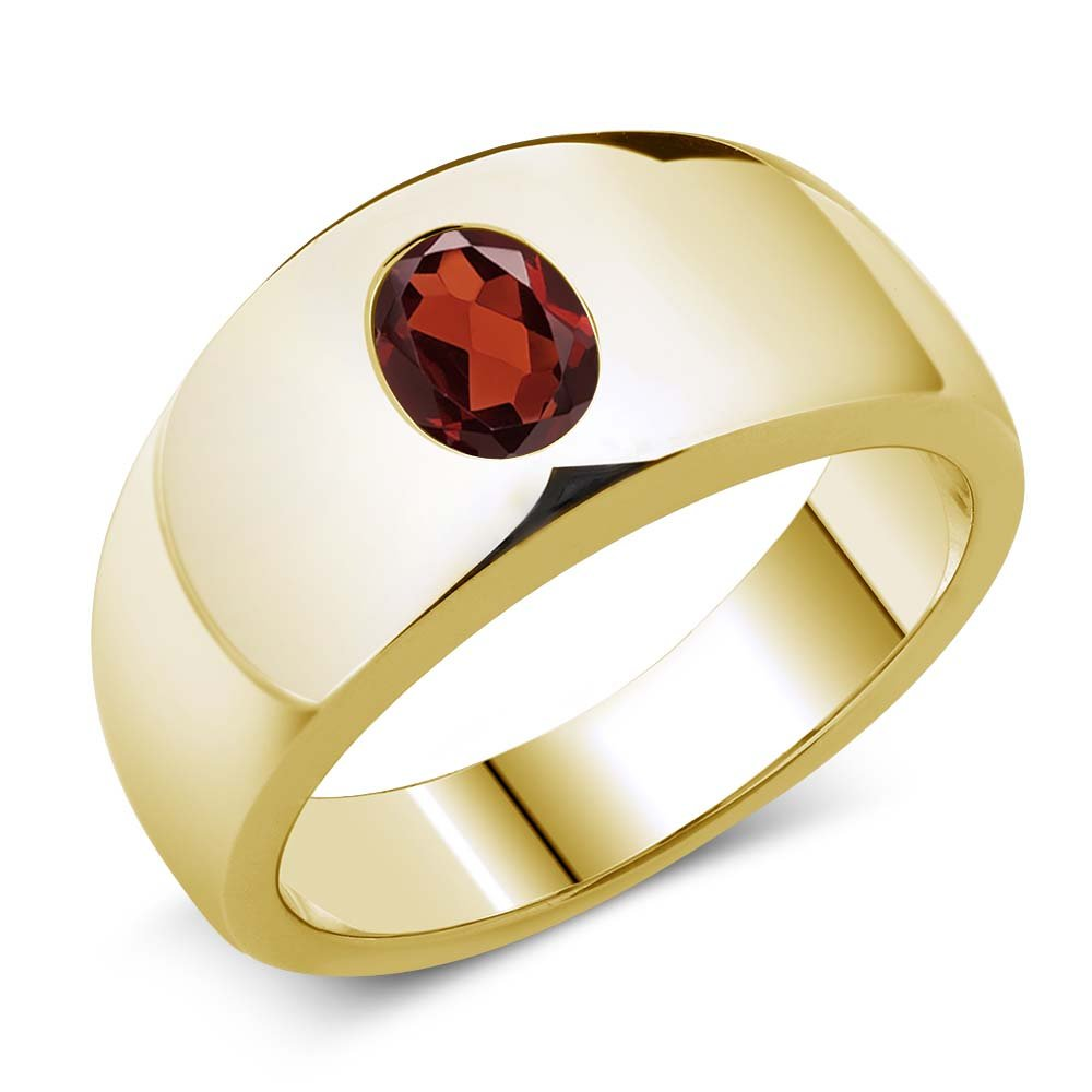 Gem Stone King 1.40 Ct Oval Red VS Garnet 925 Yellow Gold Plated Silver Men's Ring (Available 7,8,9,10,11,12,13)