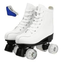 Women's Roller Skates PU Leather High-top Roller Skates Four-Wheel Roller Skates Shiny Roller Skates with Carry Bag for Girls