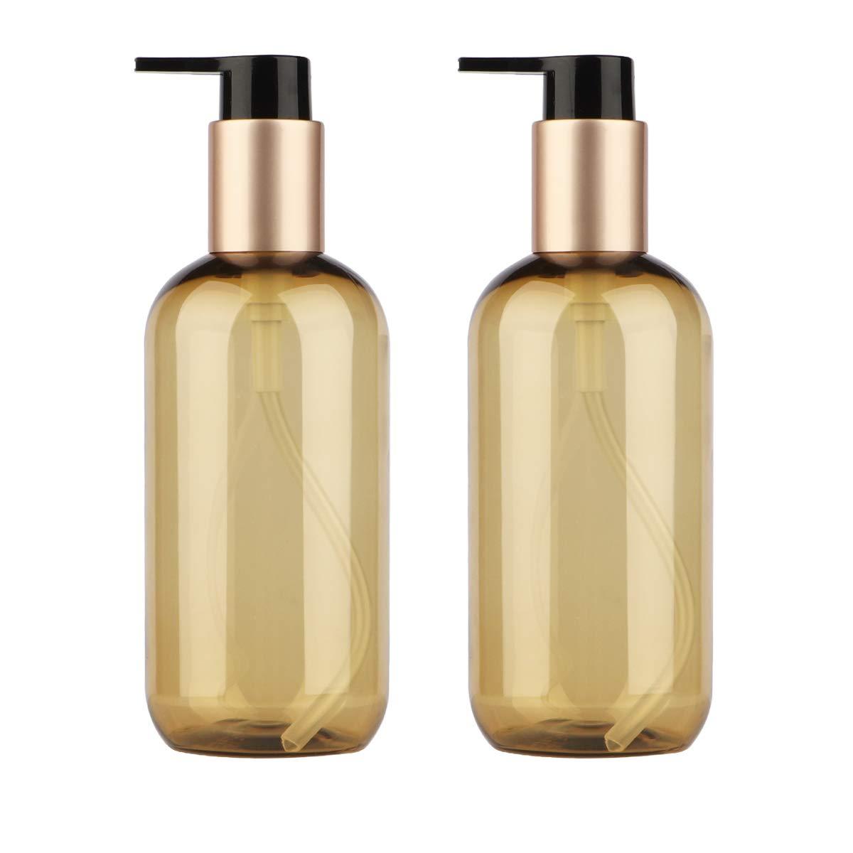 Yeeco PumpBottle, 2 PCS Plastic Pump Bottles Dispenser Empty 8.5oz/250ml Refillable Lotion Pump Bottle Set for Shampoo Conditioner Body Wash Lotion Dispenser with Pump-Clear Brown