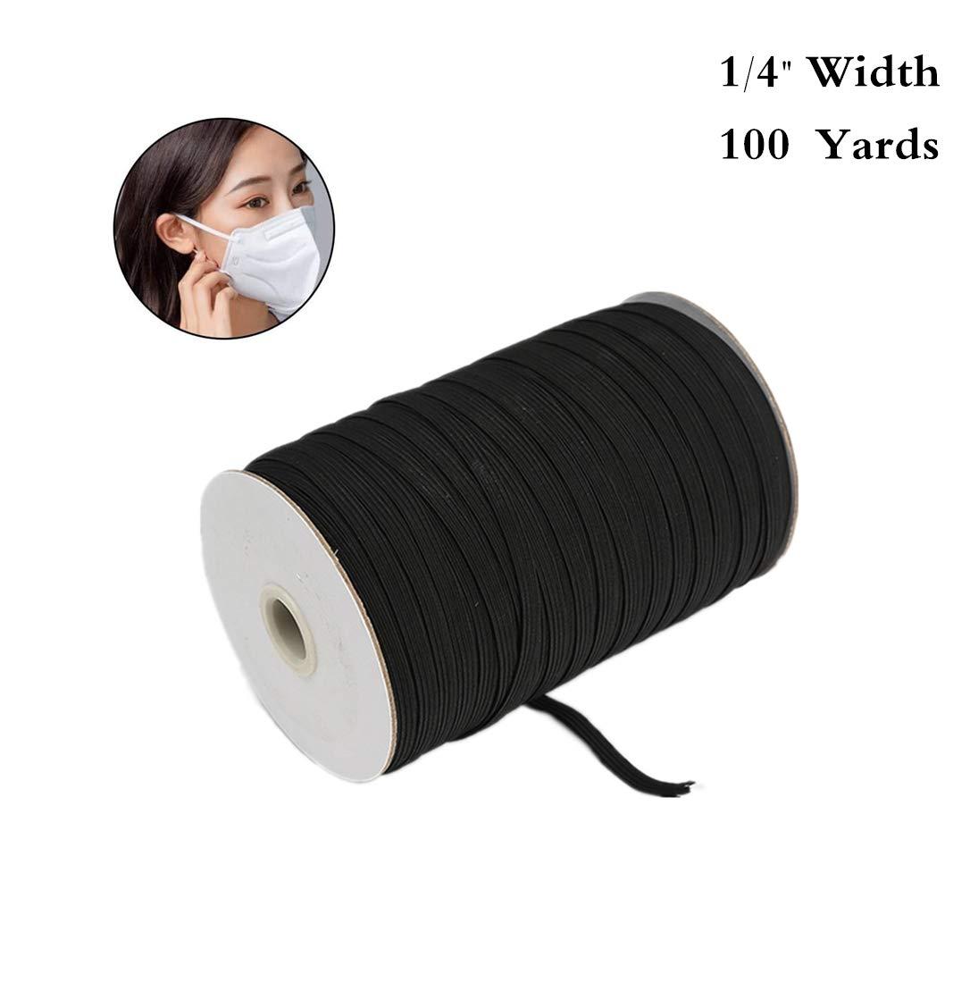 JYRibbon 1/4 Inch 100 Yards Elastic Bands Cord Elastic Rope Stretch Knit Elastic Spool for Knit Sewing Crafts DIY Earloop, Cuff (Black)