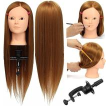 Training Mannequin, Luckyfine 24'' Natural Golden Super Long Hair Mannequin Hairdressing Head, Synthetic Hair Styling Head with Clamp, Model Head for Makeup, Hair Hairdressing, Jewelry Display