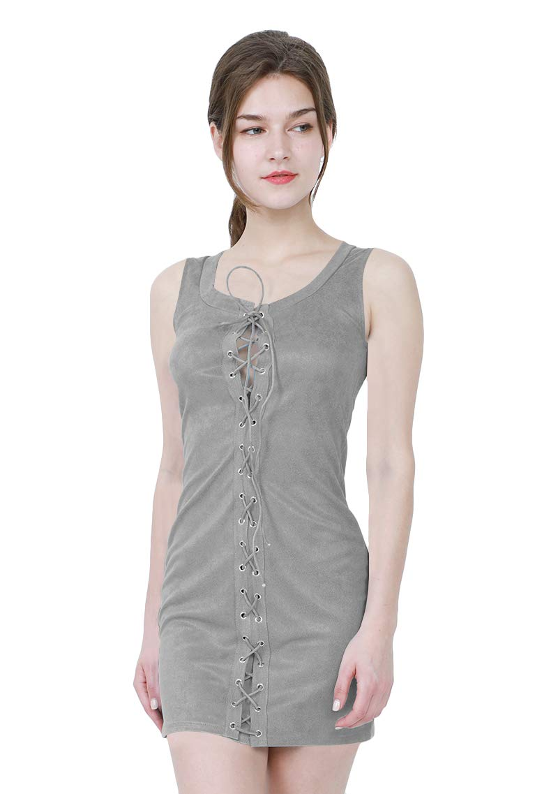 YMING Women's Sexy Club Sleeveless Mini Solid Color Bandage Bodycon Strappy Dress