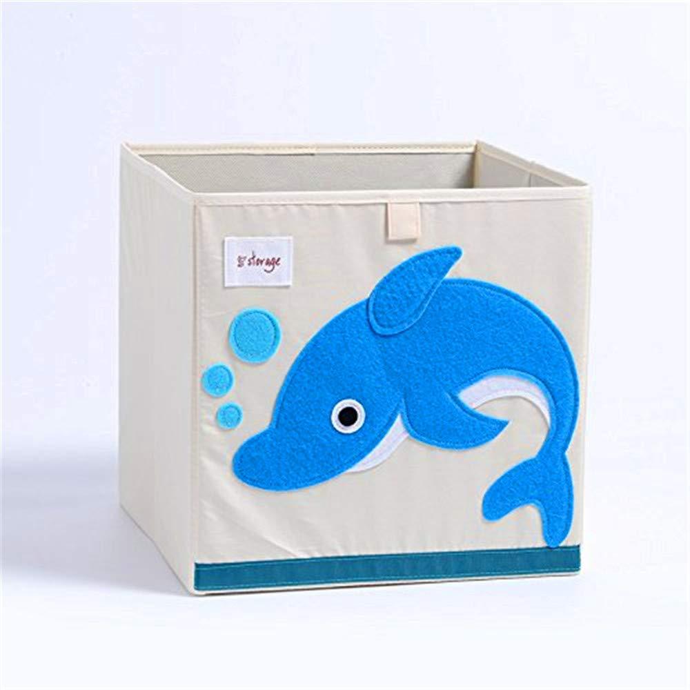 Cartoon Toy Cube Storage Bins Box for Baby Canvas Storage Chest Basket Baby Toy Storage Organizer (Dolphin)