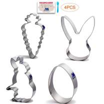 Spring Easter Cookie Cutter Set with Recipe Booklet,4 Piece Egg, Carrot, Bunny, Bunny Face Fondant Molds for Kids Stainless Steel