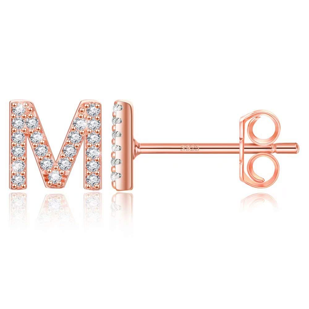 Initial Stud Earrings for Girls - 14K Rose Gold Plated S925 Sterling Silver Post CZ Alphabet Letter Stud Girls Earrings CZ Hypoallergenic Initial Studs Earrings Jewelry Gifts for Women Baby Girls