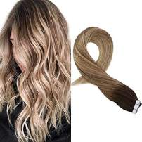 Moresoo 12 Inch Tape on Hair Extensions Remy Human Hair Skin Weft Tape in Hair Extensions Color #3 Brown Fading to #8 Light Brown and #22 Blonde Glue in Hair Extensions 20PCS/30G Per Pack