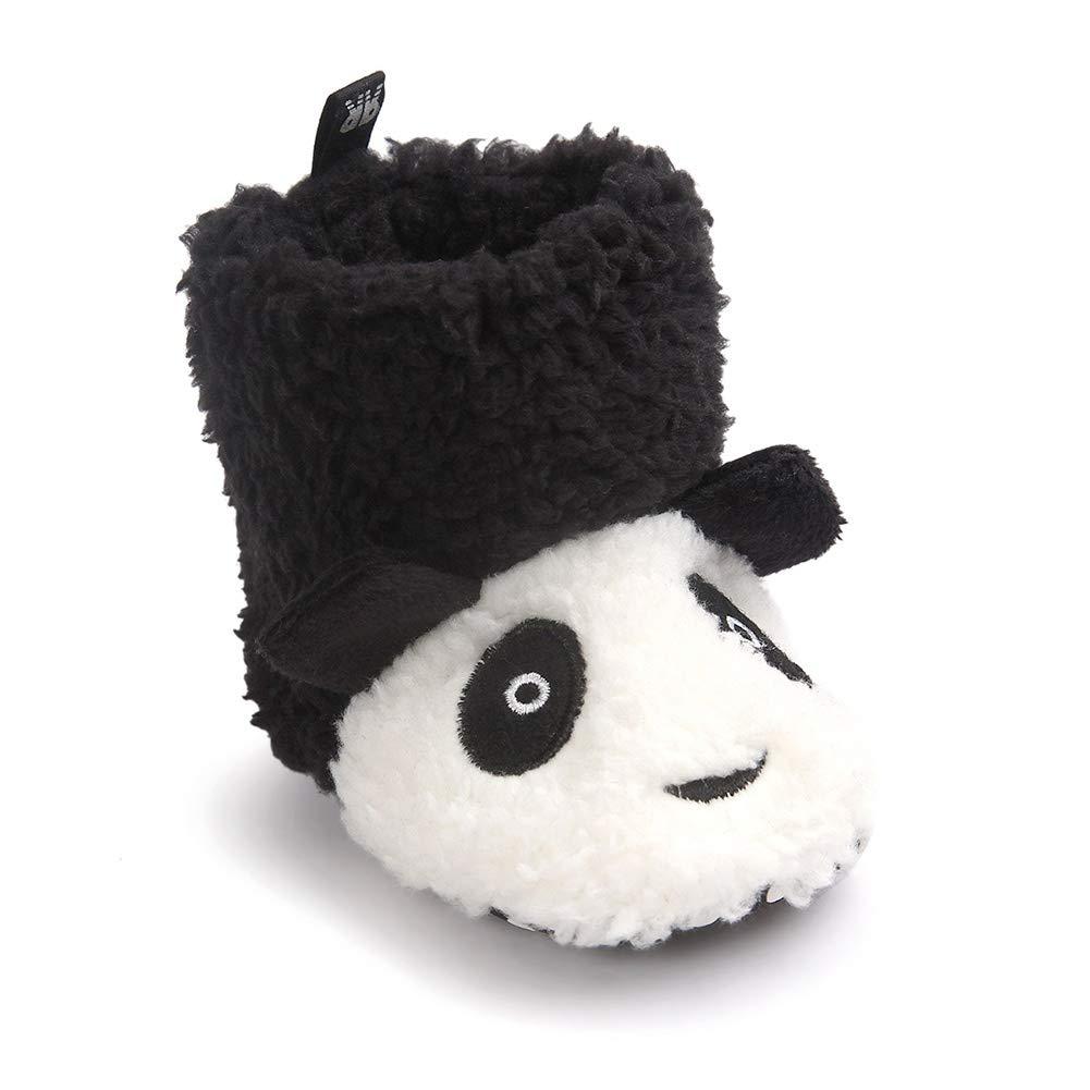 Meeshine Little Baby Newborn Premium Knit Soft Sole Warm Winter Infant Prewalker Crib Shoes Toddler Boy Girl Snow Boots(Small(0-6 Months),Panda 01)