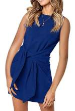 MIROL Women's Crewneck Sleeveless Tie Knot Front Bandage Solid Color Tunic Party Mini Dress