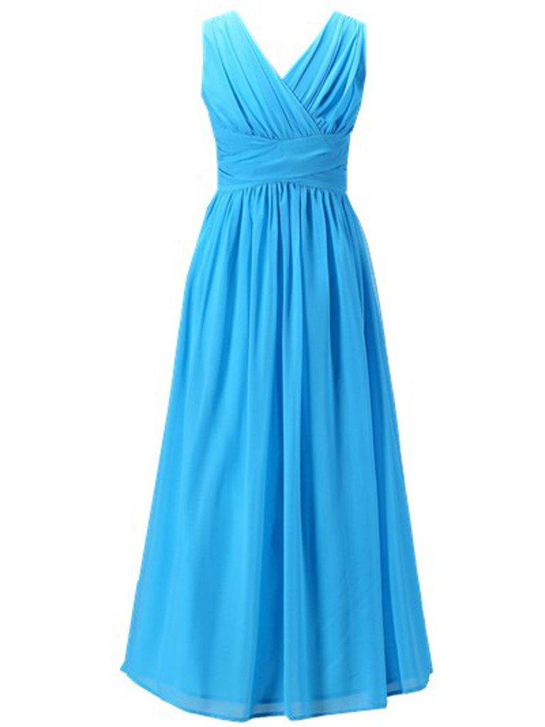 Happy Rose Flower Girl's Dress Party Dresses Juniors Long Bridesmaid Dress Aqua Blue 6