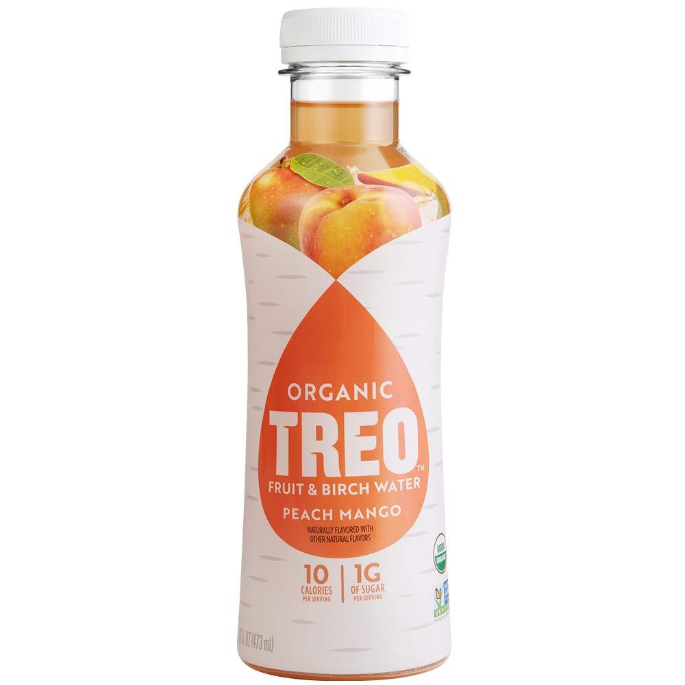 Treo Fruit & Birch Water Drink, Peach Mango, USDA Organic, Non-GMO Project Verified, Vegan, Gluten-Free, 10 Calorie & 1g of Sugarper Serving, Good Source of Vitamin C, 16 fl oz, Pack of 12