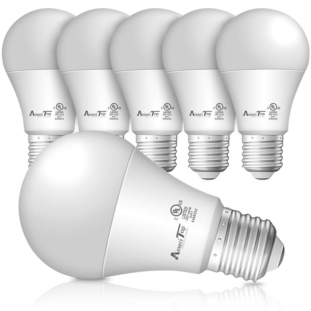 A19 LED Light Bulbs- 6 Pack, AmeriTop Efficient 9W(60W Equivalent) 830 Lumens General Lighting Bulbs, UL Listed, Non-Dimmable, E26 Standard Base (5000K Daylight)