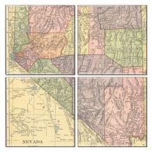 Nevada Coaster of Vintage Map (Set of 4)