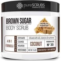 pureSCRUBS Premium Organic Brown Sugar COCONUT FACE & BODY SCRUB Set - Large 16oz, Infused With Organic Essential Oils & Nutrients INCLUDES Wooden Spoon, Loofah & Mini Exfoliating Bar