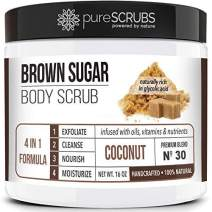 pureSCRUBS Premium Organic Brown Sugar COCONUT FACE & BODY SCRUB Set - Large 16oz, Infused With Organic Essential Oils & Nutrients INCLUDES Wooden Spoon, Loofah & Mini Exfoliating Bar