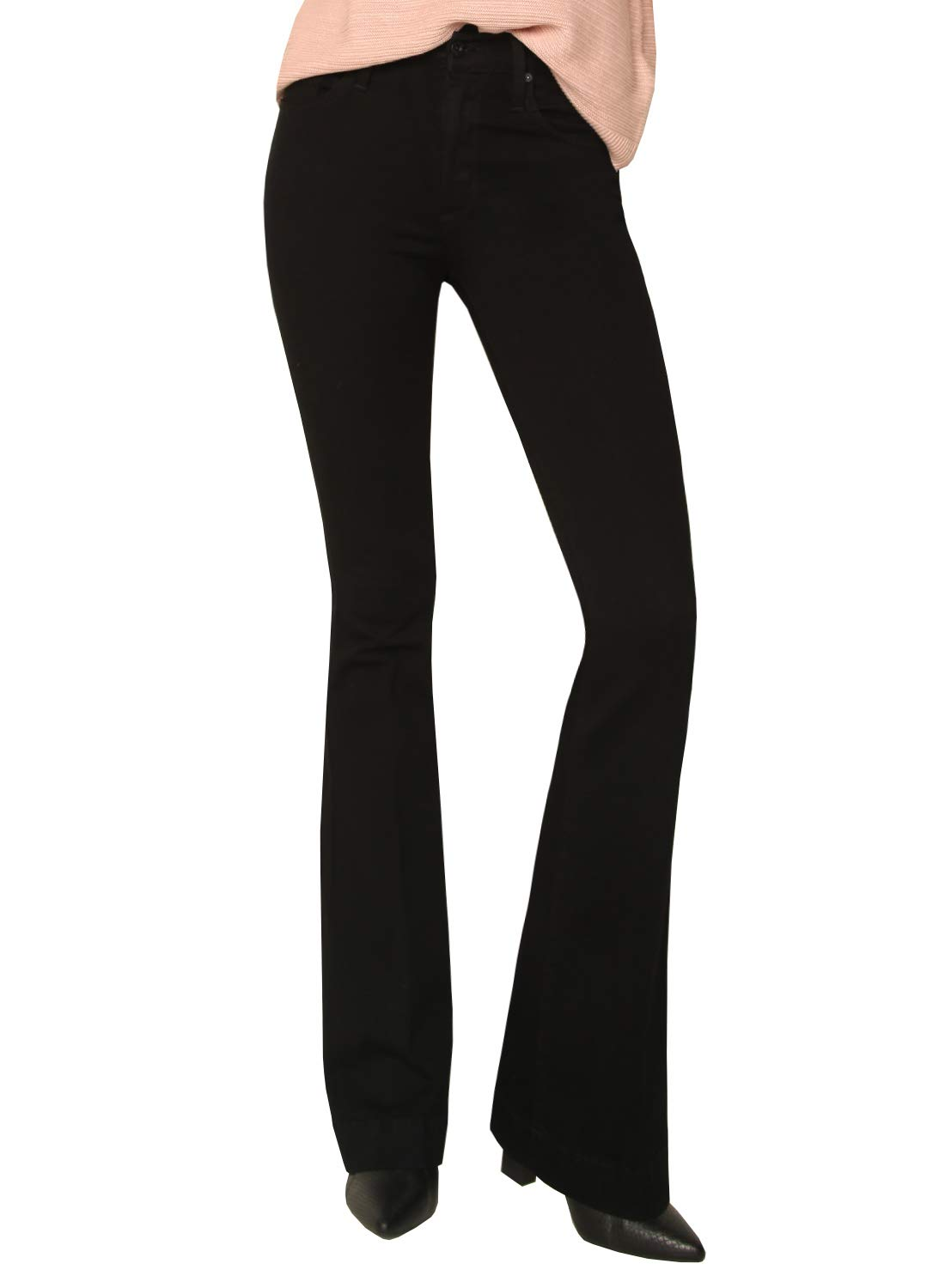 James Jeans Women's High Rise Shayebel Trouser Flare Jeans in Black Swan