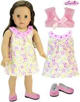 Sophia's Complete Spring Outfit for Dolls, Pink Floral Doll Dress, Pink Cropped Jacket and Flats for 18 Inch Dolls