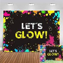Glow Neon Splatter Photography Backdrop Vinyl Glowing in The Dark Party Decoration Teens Let's Glow Birthday Banner Photo Background Supplies Photo Booth Studio Props 5x3ft