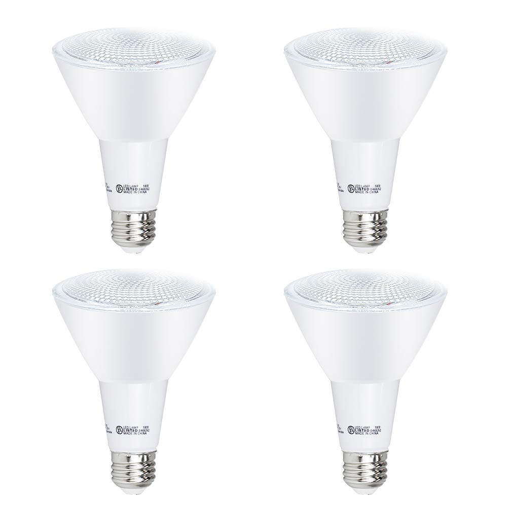 YGS-Tech 4 Pack PAR30 LED Long Neck Bulb, 12W Dimmable Flood Bulbs (75W Equivalent), 5000K Daylight White, CRI80+, 850 Lumens, E26 Base, 25,000 HRS, Indoor/Outdoor - UL Listed