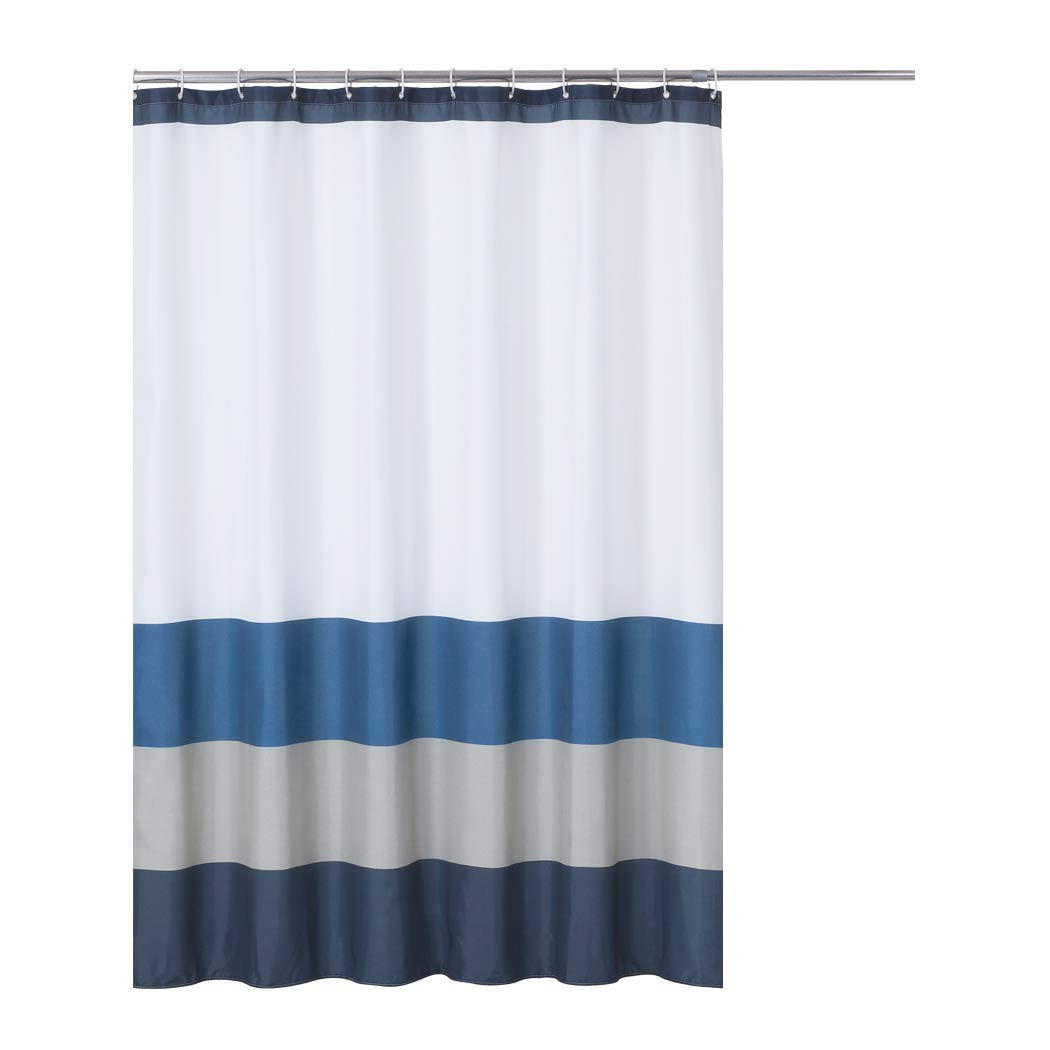 Rama Rose Stripe Print Shower Curtain with Hooks for Bathroom Showers– 70 x 72 Inch, Navy/Blue/Grey/White