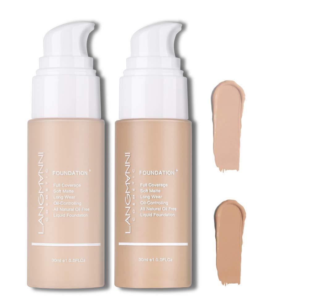 Langmanni 2 Pcs Makeup Foundation Liquid Natural Concealer Brighten Skin Color Waterproof Sweatproof cosmetic Concealer (color 4 and 5)