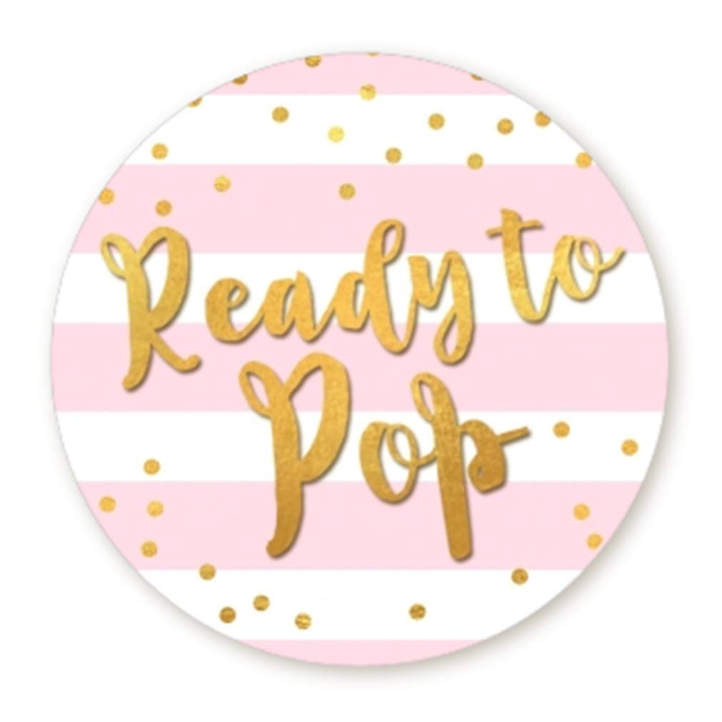 """Ready to Pop Stickers   Faux Metallic Gold   Many Sizes & Colors to Choose from   Ready To Pop Baby Shower Stickers for Popcorn   Ready to Pop Stickers for a Boy or Girl (Pink, 1.67"""")"""