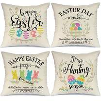 AENEY Easter Pillow Covers 18x18 Set of 4 Easter Decor for Home Buffalo Plaid Happy Easter Bunny Easter Eggs Basket Easter Pillows Decorative Throw Pillows Farmhouse Easter Decorations A337-18