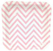 Just Artifacts Square Paper Party Plates 7.25-Inch (12pcs) - Baby Pink Chevron - Decorative Tableware for Birthday Parties, Baby Showers, Grad Parties, Weddings, and Life Celebrations!
