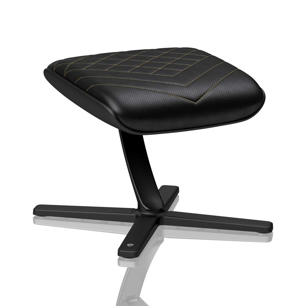 noblechairs Footrest for Gaming Chair - Office Chair - PU Leather - Footrest - Practical Adjustment - 360° Rotatable - 57° Tiltable - Black/Gold