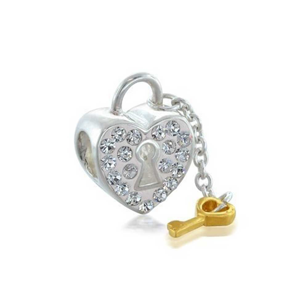 Couples Crystal Heart Shaped Lock And Key Charm Bead For Women Gift For Girlfriend 14K Gold Plated 925 Sterling Silver