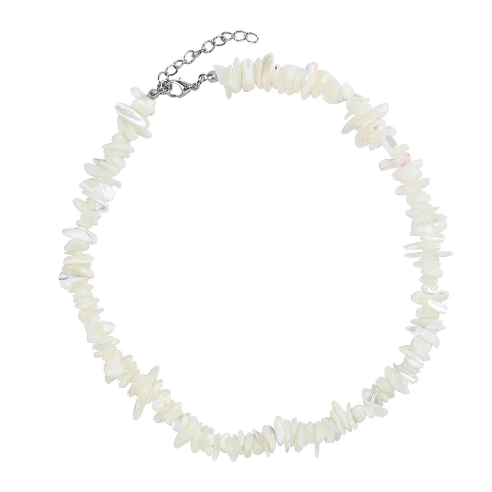 Kinimore Shell Pearl Choker Necklace for Women Girls Handmade Natural Puka Cowrie Sea Shell Necklace Adjustable Cord Necklace