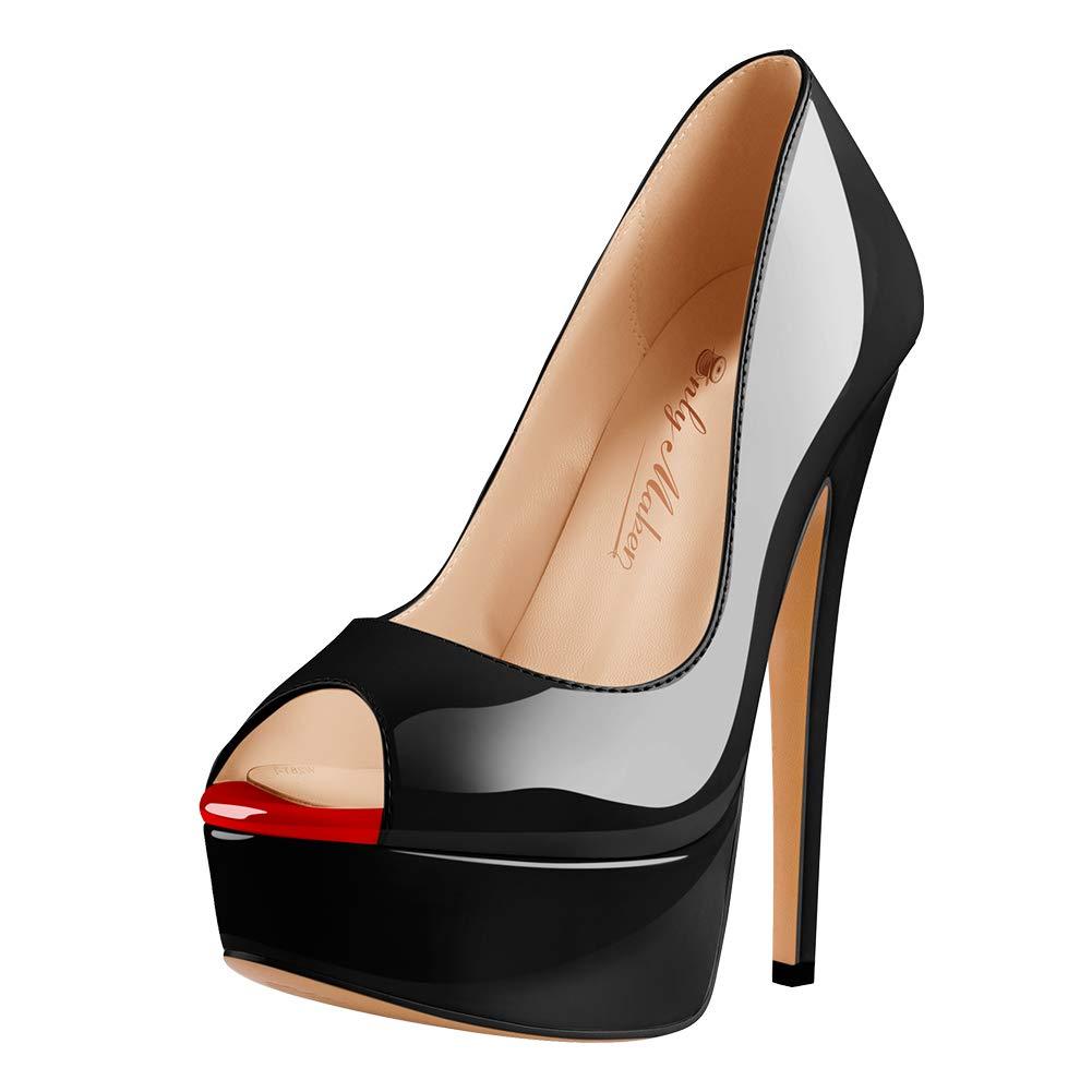 Onlymaker Women's Sexy High Heels Peep Toe Slip On Platform Pumps Stiletto Dress Party Wedding Shoes Black US15