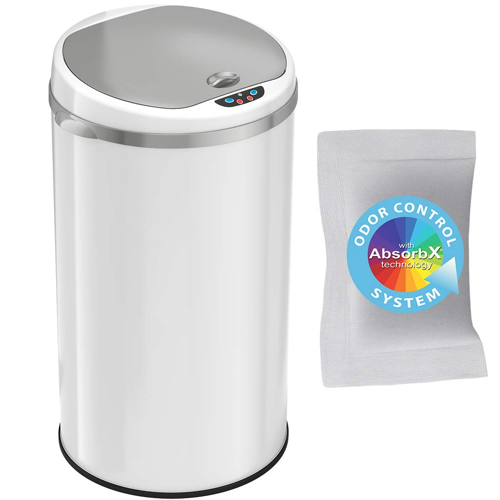 iTouchless 8 Gallon Touchless Sensor Trash Can with Odor Filter System, 30 Liter Round Steel Garbage Bin, Perfect for Home, Kitchen, Office, Pale White