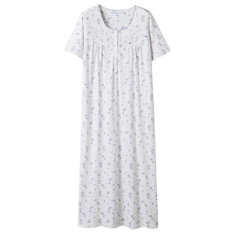 Keyocean Nightgowns for Women, Cotton Short Sleeve Soft Lightweight Sleepwear Loungewear House Dress for Summer