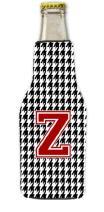 Caroline's Treasures CJ1021-M-BOTTLE Houndstooth Black Letter M Monogram Initial Longneck Beer Beverage Insulator Zipper Hugger, Longneck, multicolor