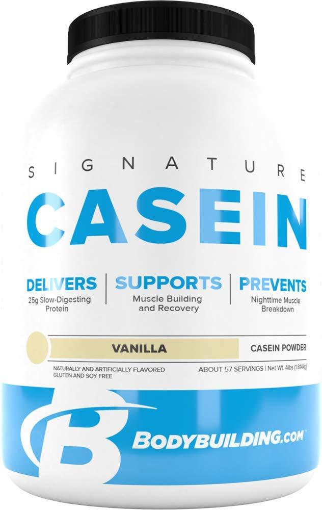 Bodybuilding Signature Casein Protein Powder | Vanilla Slow Release Micellar Casein | Rich in Amino Acid | 4lbs, 55 Servings