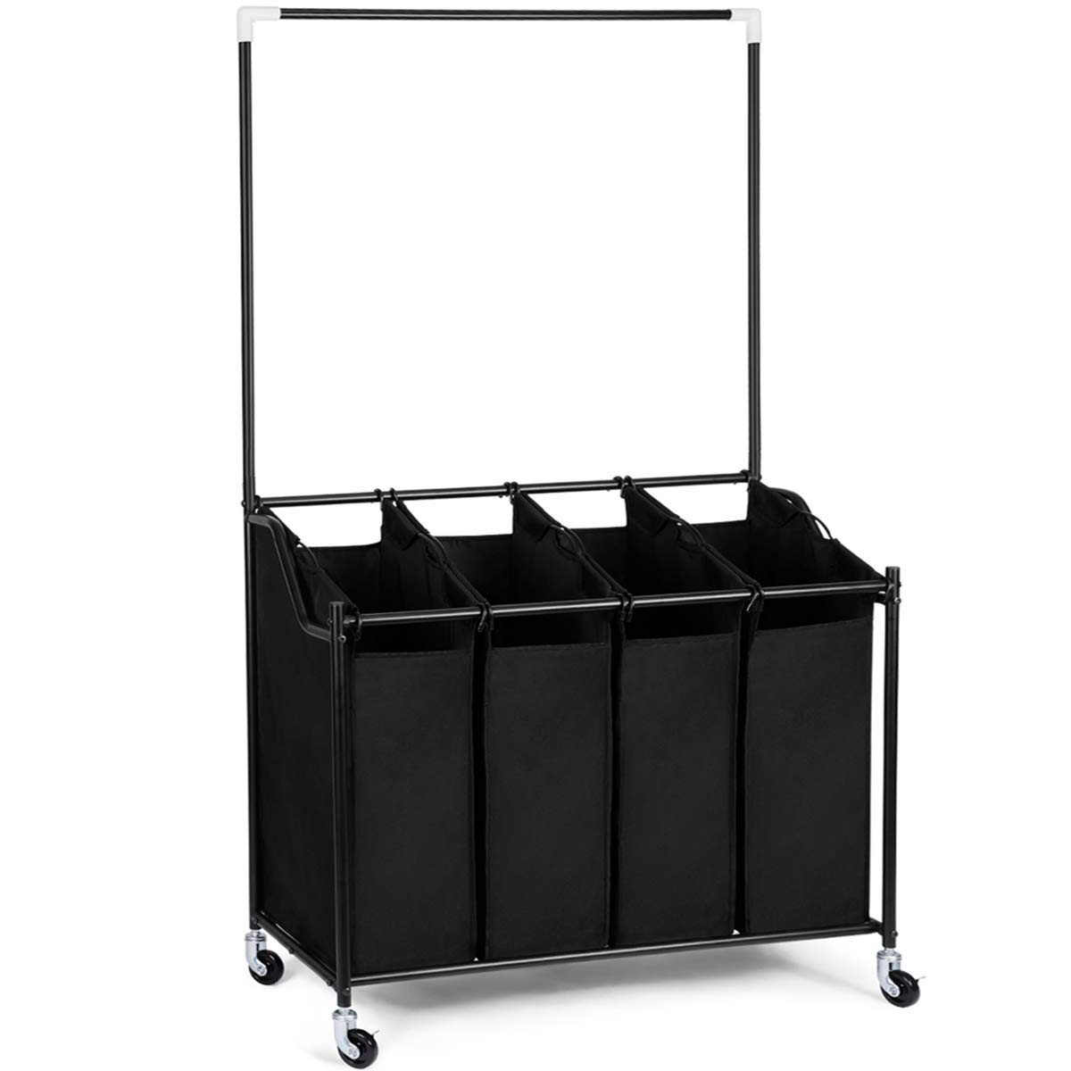 HOMEIDEAS Laundry Sorter with Hanging Bar 4-Bag Rolling Laundry Sorter Storage Cart 4 Section on Heavy-Duty Wheels, Black