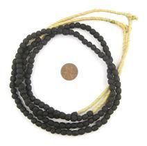 African Recycled Glass Beads - Full Strand Eco-Friendly Fair Trade Sea Glass Beads from Ghana Handmade Ethnic Round Spherical Tribal Boho Krobo Spacer Beads - The Bead Chest (7mm, Black)
