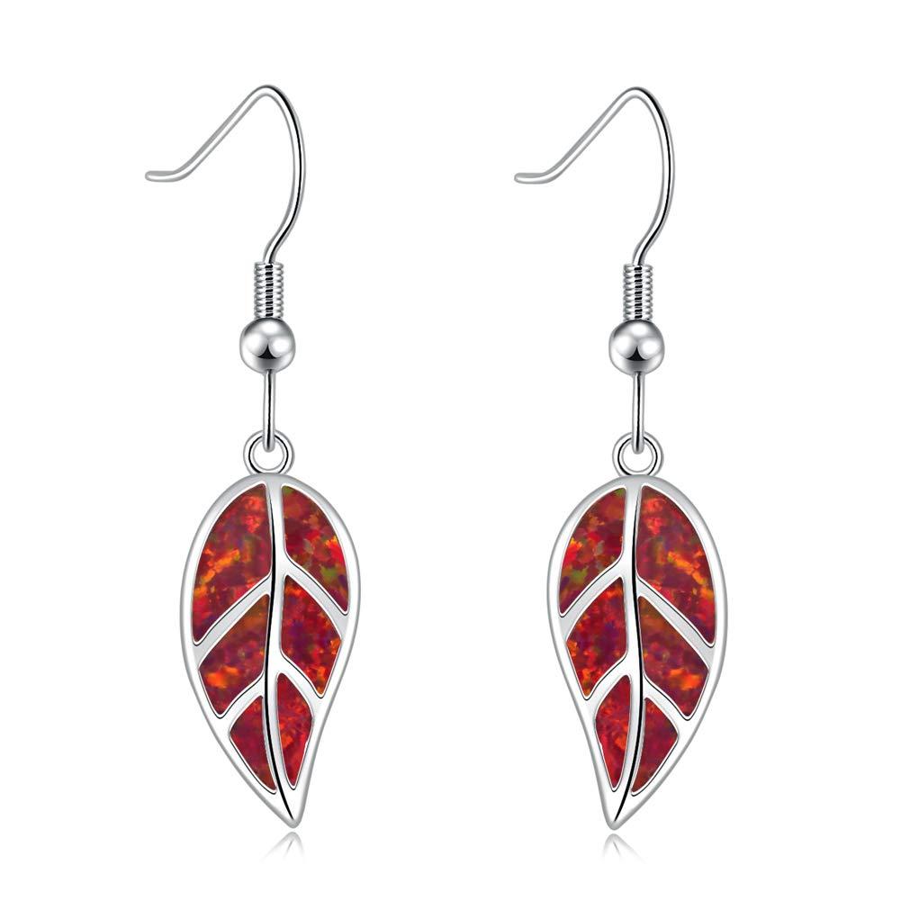 """CiNily Opal Leaf Dangle Earrings-Created Fire Opal 18K White Gold Plated Drop Earrings for Women Jewelry Gemstone Dangle Earrings 1 5/8"""""""