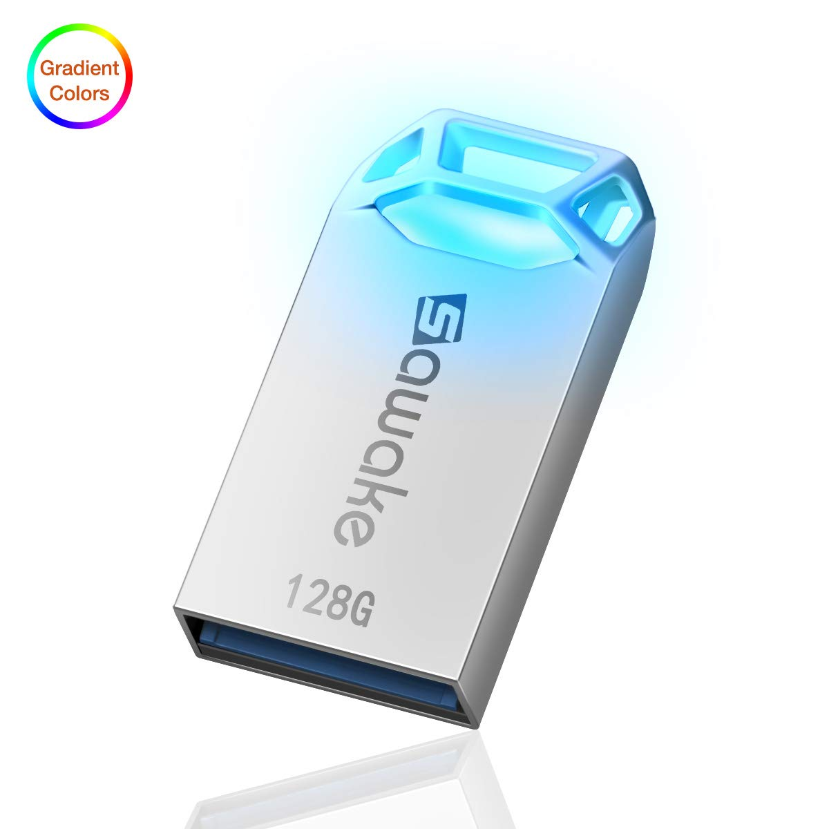 USB Flash Drive, SAWAKE 128GB USB 3.0 Thumb Drive, Waterproof Memory Stick with Keychain (Silver)