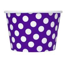 [100 Count] Purple Paper Ice Cream Cups - 8 oz Polka Dotty Dessert Bowls Perfect For Yummy Treats! Frozen Dessert Supplies