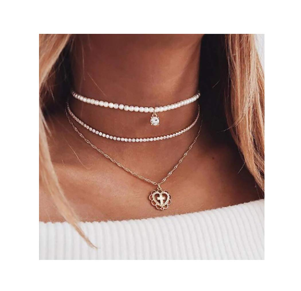 Drecode Boho Layered Necklace Gold Pearl Sparkly Rhinestones Chain Necklaces Bohemian Heart Cross Choker Necklace Jewelry for Women and Girls