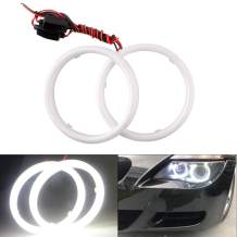 EverBright 1Pair White 70MM Car Led Cotton Lights Angel Eyes Halo Rings COB Light Circle Ring Headlight Lamp with Housing 12V 24V