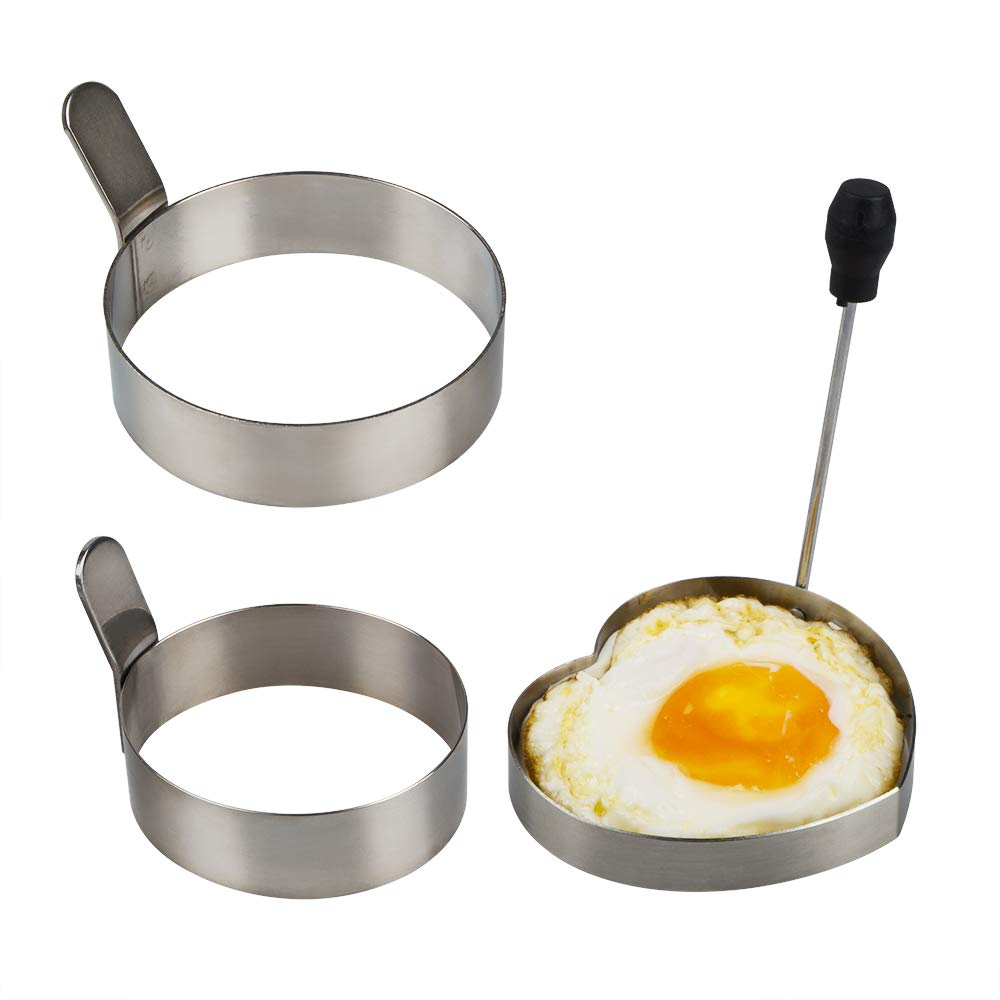 3 Pack Egg Ring,Sonku 3.5 Inch&3.0 Inch Stainless Steel Round Pancake Rings Omelet Non Stick Fried Kitchen Cooking Tool with 1 Pack Heart Mold,1 Pack Oil Brush and 1 Pack Oven Glove-Total 5 Pcs