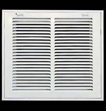 """12"""" X 10"""" Steel Return Air Filter Grille for 1"""" Filter - Removable Face/Door - HVAC Duct Cover - Flat Stamped Face -White [Outer Dimensions: 13.75w X 11.75h]"""