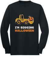 I'm Digging Halloween Pumpkin Face Tractor Toddler Kids Long Sleeve T-Shirt
