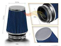 """3"""" 76mm Inlet Narrow Air Intake Cone Replacement Quality Dry Air Filter - BLUE"""