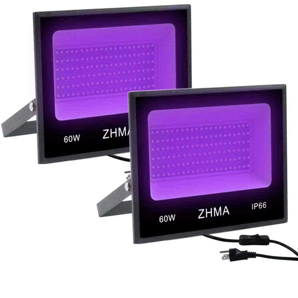 ZHMA 60W UV LED Black Light,UV Flood Light with Plug,Party Lights,for Blacklight Party,Fluorescent Party,Black Light Posters for Room,Body Paint,Glow in The Dark Paint,Curing [2-Pack]