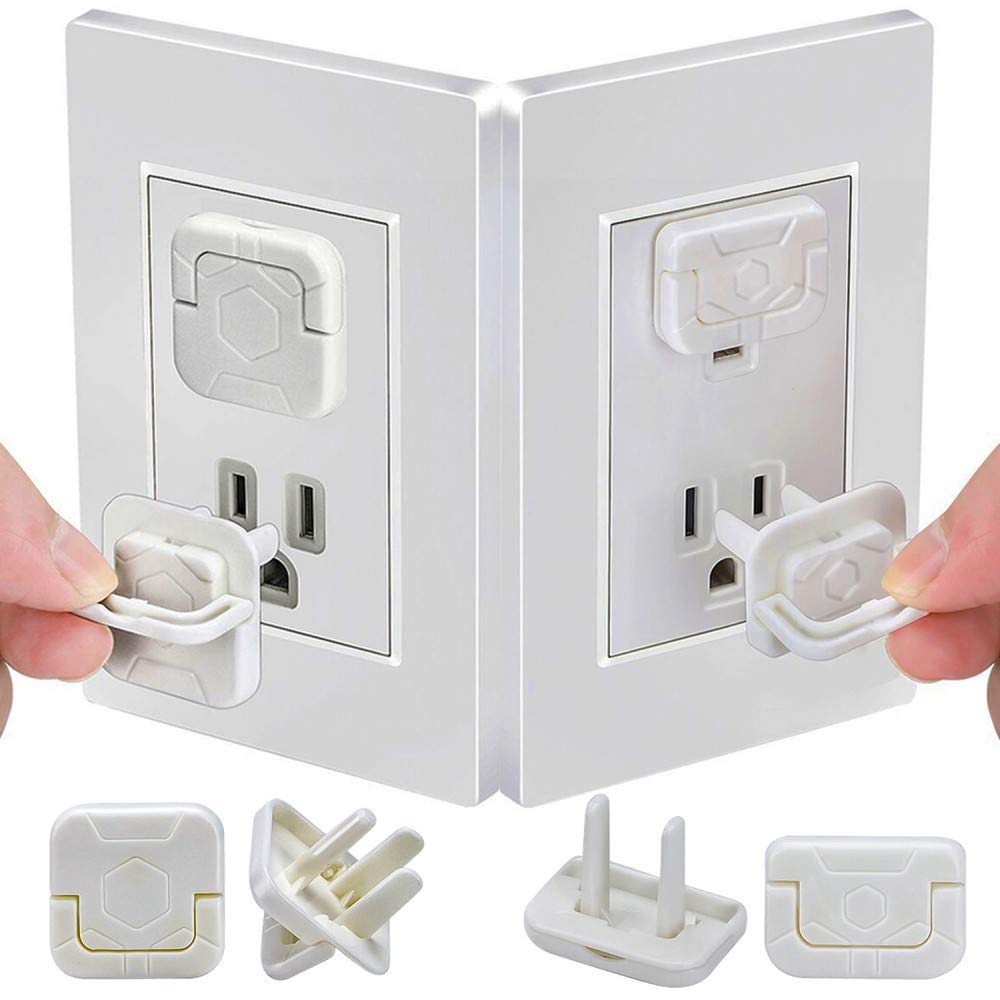 40 Mixed Pack Outlet Covers Baby Proofing Socket Protectors Child Safety Plug Caps Difficult for Toddler to Remove Electric Shock Guard for US 2-Prong and 3-Prong White