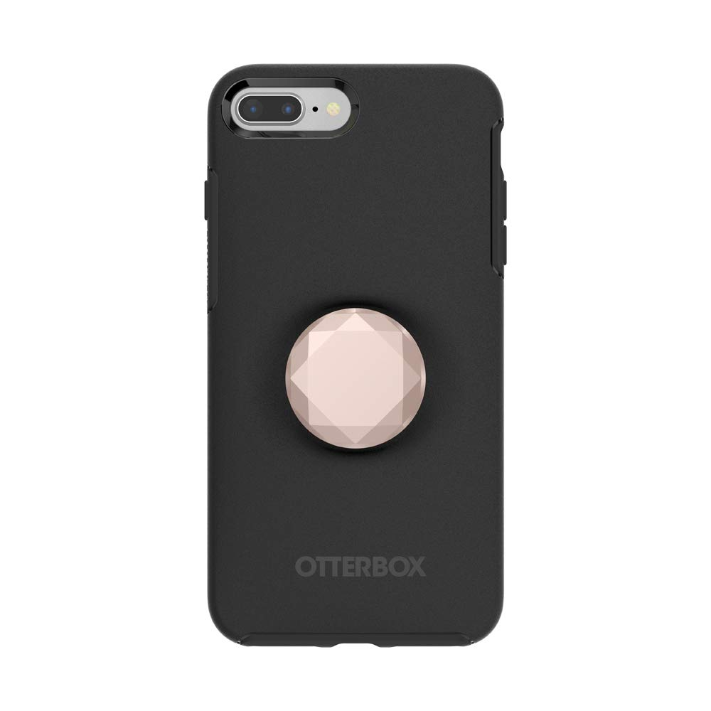 Otter + Pop for iPhone 7+ and 8+: OtterBox Symmetry Series Case with PopSockets Swappable PopTop - Black and Metallic Diamond Rose Gold
